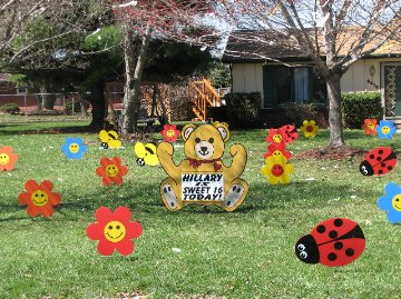 2D Flower and Bugs Display with Teddy Bear Theme Sign