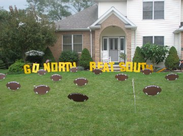 GO NORTH BEAT SOUTH Lawn Letters w/Footballs
