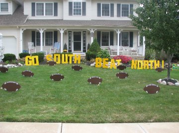 GO SOUTH BEAT NORTH Lawn Letters w/Footballs