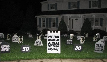 Skunks and Wacky Tombstones Display